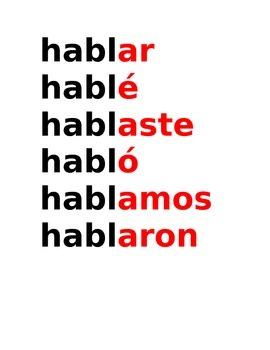 SPANISH conjugation posters present and preterit