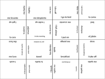 SPANISH daily routine jigsaw puzzle