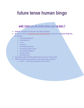 SPANISH future tense human bingo