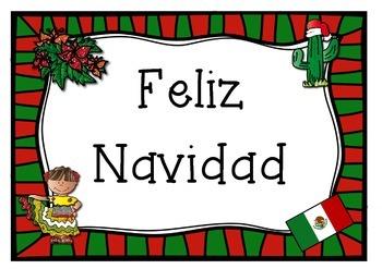 SPANISH mexico mexican theme  MERRY CHRISTMAS POSTER Feliz Navidad
