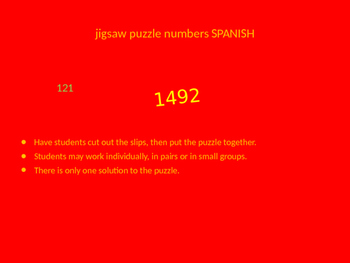 SPANISH numbers jigsaw puzzle