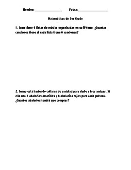 SPANISH one Step two step multiplication/addition word problems