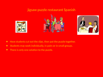 SPANISH restaurant words jigsaw puzzle