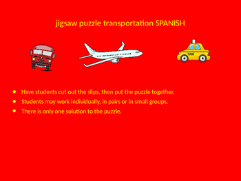 SPANISH transportation jigsaw puzzle