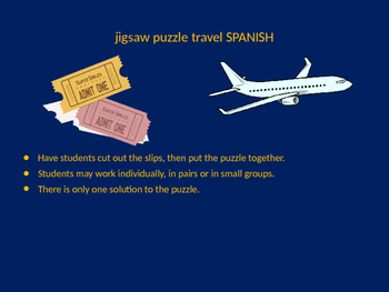 SPANISH travel vocab jigsaw puzzle
