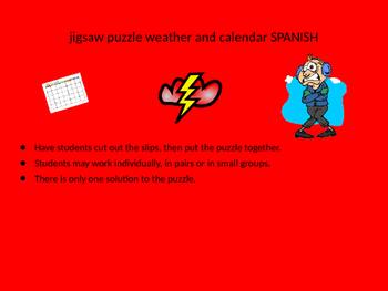 SPANISH weather and calendar jigsaw puzzl