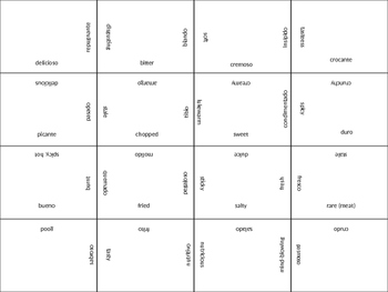 SPANISH words to describe food jigsaw puzzle