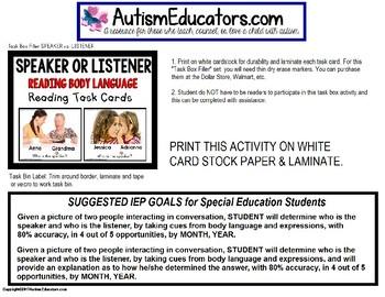 "SPEAKER OR LISTENER Task Cards INTERPRETING BODY LANGUAGE ""Task Box Filler"""