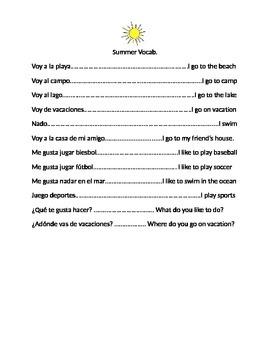 SPEAKING SPANISH in Elementary School! Discuss Summer Activities!