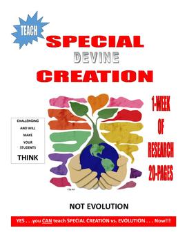 SPECIAL CREATION vs EVOLUTION IN-CLASS RESEARCH  18-PAGES FUN FUN FUN