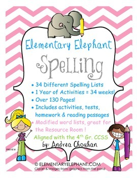Spelling Curriculum (1 Full year!) CCSS! Grade 4 by Elementary Elephant