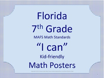 SPECIAL Florida 7th Seventh Grade MAFS Math Standards Posters