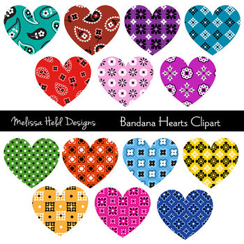 SPECIAL OFFER! Clipart: Bandana Hearts Clip Art