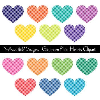 Gingham Plaid Hearts Clipart