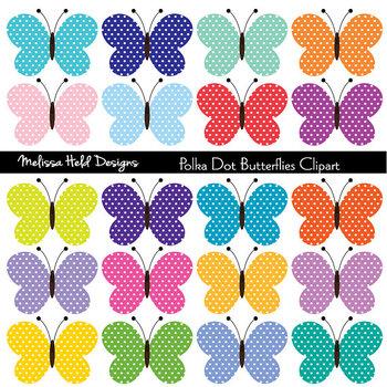 SPECIAL OFFER! Clipart: Polka Dot Butterflies Clip Art