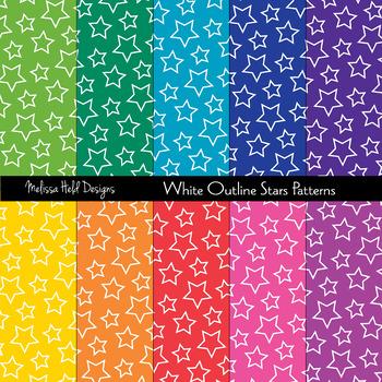 White Outline Stars Patterns