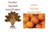 SPECIAL October and November Daily Math Journal Problems