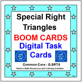 """SPECIAL RIGHT TRIANGLES:  """"DIGITAL"""" BOOM CARDS (24 TASK CARDS)"""