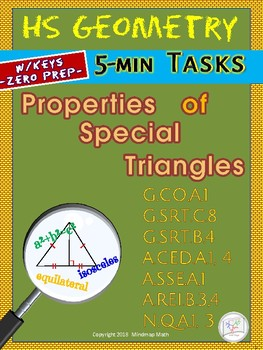 SPECIAL TRIANGLES (Geometry Curriculum Tasks/ Warm-ups - Unit 11)