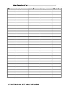 SPED - Attendance Sheet