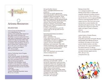 SPED Community Resource Brochure - Arizona
