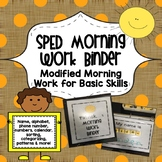 SPED Morning Work Binder {Modified Morning Work for Basic Skills}