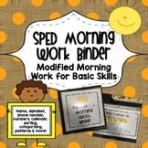 SPED Morning Work Binder {Modified Morning Work for Basic Skills}