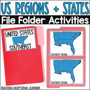 SPED Social Studies: US Regions & States File Folder Activities