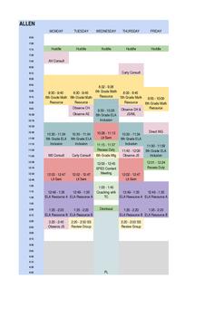 SPED Teacher Schedule Template