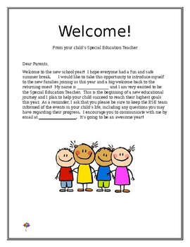 Parent Welcome Letter Special Education Worksheets & Teaching