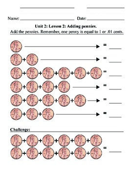 Coin ID Pennies - Unit 2: Counting, Addition, Math, Money, Life skills