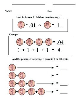 Coin ID Pennies - Unit 2: Counting, Addition, Math, Money,