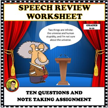 SPEECH AND COMMUNICATIONS:  SPEECH REVIEW WORKSHEET/ASSIGNMENT DISTANCE LEARNING