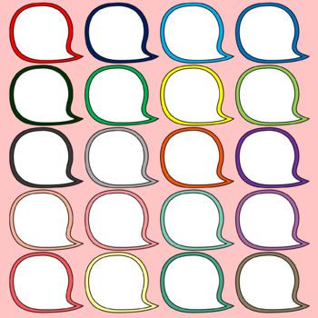 SPEECH BUBBLES Clipart. Speech Balloons. 20 different colors.