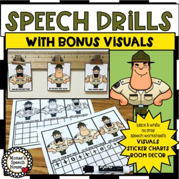 SPEECH DRILLS DOOR SIGN VISUALS SPEECH THERAPY worksheets  NO PREP
