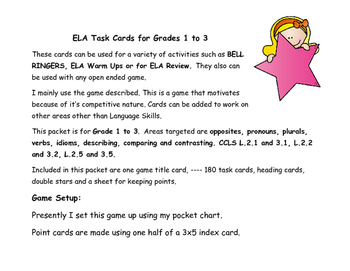 ELA TASK CARDS for Grades 2 and 3 (With Game)
