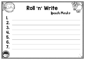 SPEECH MARKS roll n write games 2 LEVELS 4 games