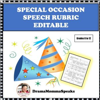 SPEECH & COMMUNICATIONS: EDITABLE SPECIAL OCCASION SPEECH RUBRIC