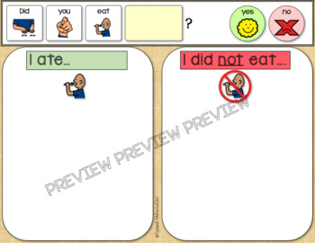 SPEECH THERAPY After Thanksgiving Activity What did you eat?  Autism Visual