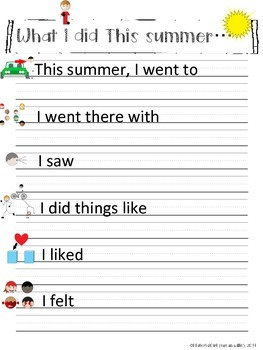 SPEECH THERAPY Back To School What I did This Summer bubble map & writing Autism