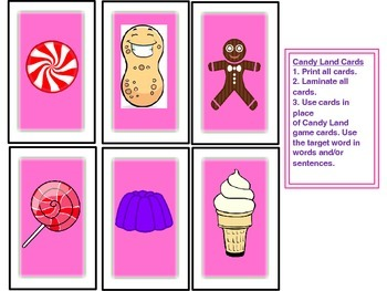 SPEECH THERAPY CANDY LAND /F/ Articulation Picture Cards rds