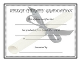 SPEECH THERAPY DIPLOMAS/GRADUATION CERTIFICATES