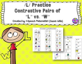 SPEECH THERAPY /L/ VS /W/ CONTRASTIVE Minimal PAIRS AND FLASH CARDS articulation