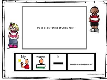 SPEECH THERAPY MY SCHOOL visual sentence strips Photo Booklet Boardmaker autism