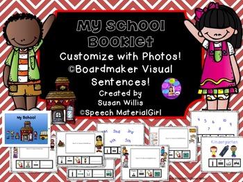 SPEECH THERAPY MY SCHOOL visual sentence strips Photo Book