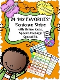 SPEECH THERAPY My Favorites SENTENCE STRIPS Visual Autism Fluency Social Lang
