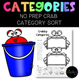 Speech Therapy: No PREP Crab Category Sort FREEBIE