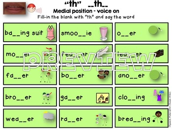 SPEECH THERAPY TH Articulation worksheets fill-in TH no prep bonus cue card