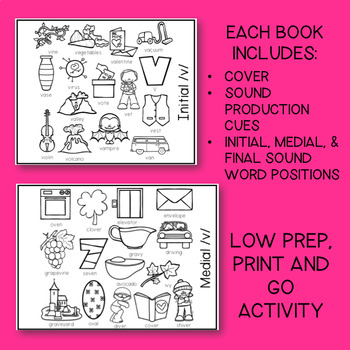 SPEECH THERAPY: /v/ Articulation Coloring Flip Book w/ Speech Sound Cues