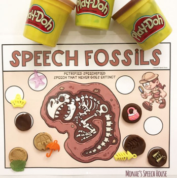 DINOSAUR FOSSILS speech therapy worksheets SENSORY BIN EASY PREP & NO PREP